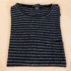 Polo Ralph Lauren Navy Stripe Linen T-Shirt L